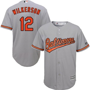 Youth Majestic Baltimore Orioles Steve Wilkerson Grey Cool Base Road Jersey - Replica